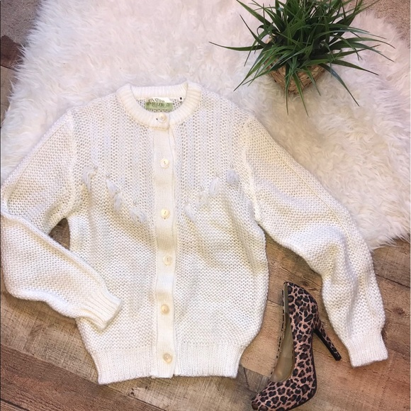 Vintage Sweaters - Vintage Button Down Sweater with Fringe